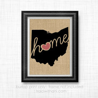 Ohio Love! - OH Burlap Printed Wall Art:  Silhouette, Print, Heart, Home, State, United States, Rustic, Typography, Artwork,