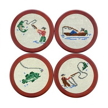 Gone Fishing Needlepoint Coasters by Smathers & Branson