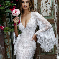 Joky Quaon Custom Made Sexy Deep V Neck Open Back Trumpet Long Sleeves Sparkly Beads Lace Graduation Cocktail Dresses Gown 2016