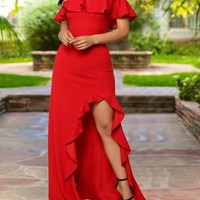 New Red Ruffle Off Shoulder Irregular High-Low Bodycon Elegant Prom Party Maxi Dress