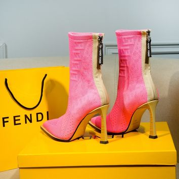 FENDI womens 2020 new office Logo-embossed leather Fashion Sports Elastic Stocking Ankle Short Boots high heels shoes pink