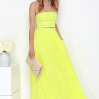 Maxed Out Yellow Two-Piece Maxi Dress