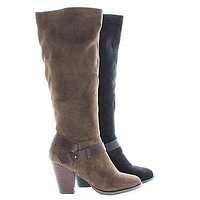 Elfin By Delicious, Knee High Almond Toe Ankle Strap High Block Heel Riding Boots
