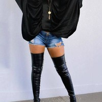New Black Big Dolman Sleeve V-neck Long Sleeve Casual Blouse