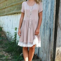 Write Me A Love Song Short Sleeve Acid Wash Beige Dress With Lace Hem