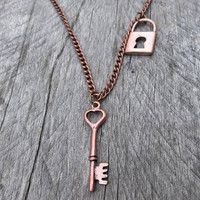 "The ""Key to John Carter's Heart of Mars"" Clockpunk Steampunk Reversible Necklace, Copper Lock & Heart Key Necklace on Curb Link Chain"