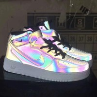 """Nike Air Force 1"" Unisex Casual Fashion Chameleon High Help Plate Shoes Couple Sneakers"