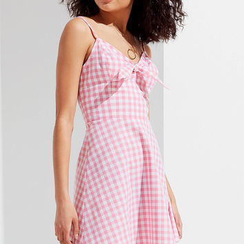 UO Tie-Front Gingham Mini Dress   Urban Outfitters