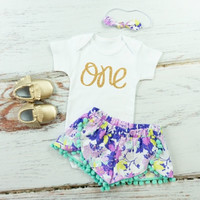 Girls First Birthday Shorts Outfit   Purple and Mint Flowers Shorts with aqua pom pom trim