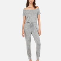 Heathered Off The Shoulder Lounge Drawstring Jumpsuit