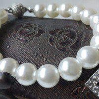 Wedding Ivory Pearl Bracelets and Swarovski Letter Jewelry with Silver Plated Clasp.