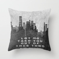 Let Me Take You Out Of This Town Throw Pillow by Ally Coxon | Society6
