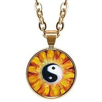 "Yin Yang Balance Blossom 5/8"" Mini Stainless Steel Rose Gold Pendant Necklace"