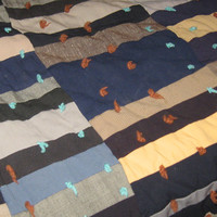 antique colorful Handmade  hand tied Patchwork Wool Quilt