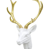 Small Deer Head Wall Mount - White & Gold - Deer Head Antlers Faux Taxidermy