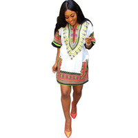 2016 Fashion African Dresses For Women Dashiki Africa Clothing Traditional Print Dresses New Designs Loose T Shirt Dress