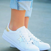 Gold Star Sneakers: White/Gold