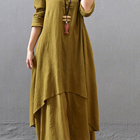Mustard V-Neck Layered Button Down Maxi Dress