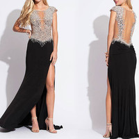 168USD Promotion!! Black cool! High Class Hand Weave shining Beading, Prom Dress, Red color, party dress for girl, evening apparel, cocktail
