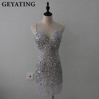 Bling Bling Silver Gray Beaded Crystals Sheath Short Cocktail Dresses 2018 Spaghetti Straps Criss Cross Back Party Prom Dress