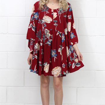 Angel Wing Heavenly Floral Dress {Red Mix}