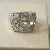 Vintage Ring, Silver Stars Cluster Ring, Size 8.5 Ring, Silver tone Ring