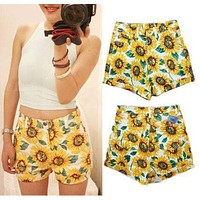 Fashion Womens Summer Casual SUNFLOWER Print High Waist HOT Shorts