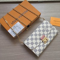 LV Louis Vuitton DAMIER CANVAS CHAIN HAND BAG WALLET
