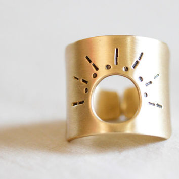 Sun Goddess Ring - Brushed Nu Gold Handcrafted Sun Ring - Boho Chic - Sun Jewelry - Bohemian - Spring Finds - Handcrafted - Handforged