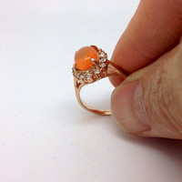 Gorgeous Mexican Fire Opal Ring on Sterling Silver gold plated