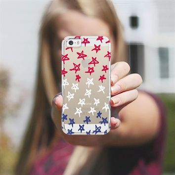 Red, White & Blue Stars - Transparent/Clear Background iPhone 5s case by Lisa Argyropoulos | Casetagram