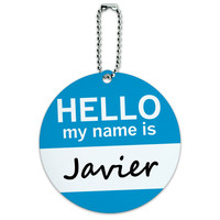 Javier Hello My Name Is Round ID Card Luggage Tag