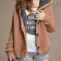 Solid Color Knitted Hoodie Cardigan