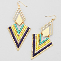 Blue Mixture Chevron Earrings