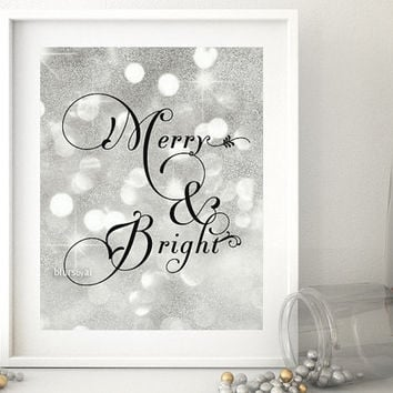 "Silver and gold Christmas printable wall art: ""Merry & Bright"" gold christmas decor, silver Christmas, flourish text, silver glitter- gp210"