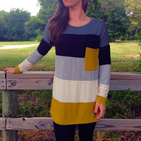 St. John's Striped Loose Fit Long Sleeve Pocket Tee Mustard Yellow *MADE IN USA!*