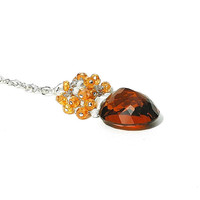 Beautiful Madaira Citrine Pendant /  Apricot Quartz Necklace / Sterling Silver / Gemstone Drop / Wire Wrapped / Rust / Gifts For Her / OOAK