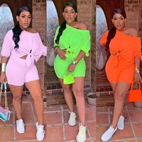 Women Casual Two Piece Off The Shoulder Tie Up Crop Top Short Set