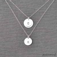 Two Initials Personalized Double Necklace, Initial disc necklace, Multi Layer Necklace, initial monogram, silver and gold, hammered, silver