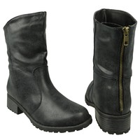 Womens Ankle Boots Loose Fitting Back Zipper Comfort Shoes Black SZ