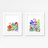 Forget me not Set of 2 watercolor painting wall art blue flower nursery print poster tropical wild flower nature inspiration any size