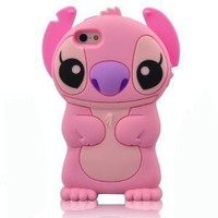 HELPYOU Pink Iphone 5 C New 3D Cartoon Stitch Movable Ear Soft Silicone Rubber Case Protective Cover for Iphone 5C