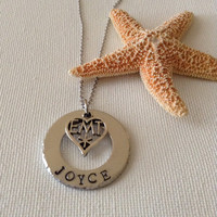 EMT necklace or keyring, paramedic, name necklace, handstamped, personalized, medical gifts, gifts for EMT