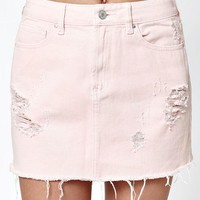 LMFON PacSun Pink Destructed Denim Mini Skirt