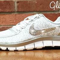 Nike Free Run 5.0 V4 PT By Glitter Kicks Hand Customized With Swarovski Crystal Rhinestones - White/Silver