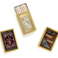 Shakespeare Matchbox Trio - Literary Matchbooks - Pair with a Candle - Tiny Book Lover Gift - Decorative Matches - Light a Literary Spark