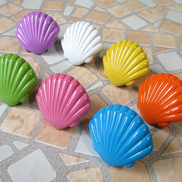 Shell Cabinet Knobs / Kids Dresser Knobs / Childrens Drawer Knobs Pulls Handles Nautical Hardware Blue Yellow Green White Orange Purple Pink