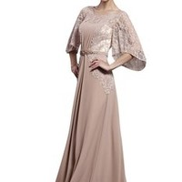 Little Smily Women's Floral Lace Scoop Neck Long Formal Evening Dress with 3/4 Sleeve