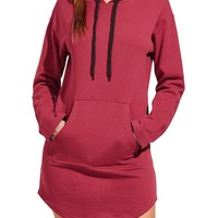 Casual Pure Color Irregular Hooded Long Sleeve Hoodies For Women