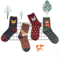 1Pair/lot Lovely Fox Wolf Striped 3D Socks Spring Winter Style Creative Cute Women Cotton Socks Fox Girls Calcetines Meias